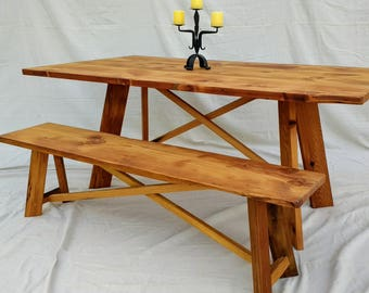 Farmhouse Table and Bench set made with reclaimed wood ( local pick up/delivery only please )