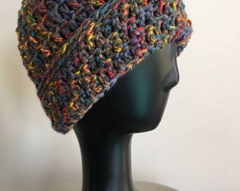CLEARANCE PRICE - Warm Hat, Gray Rainbow Hat, Gift for Her, Gift for Him