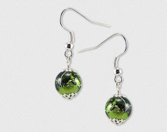 Kit design Stud Earrings green drawbench beads