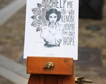 Postcard - Princess Leia Mandala - Help Me Obi - Wan