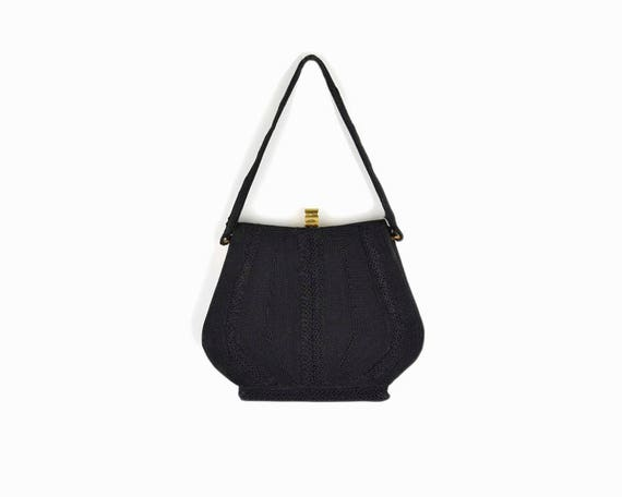 Vintage 1950s Black Corde Evening Bag / Evening Clutch / Black Cording Handbag