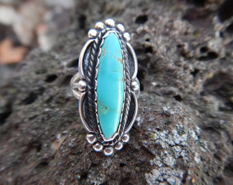 Vintage Sterling Silver and Turquoise Ring Navajo Native American