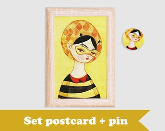 SET, queen bee postcard & queen bee brooch, postcard bundle, brooch and postcard set, pins bundle