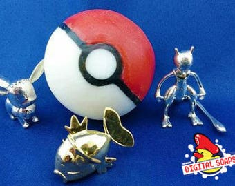 Geeky Wedding Gift, Silver or Gold 3D Printed Pokemon in Pokeball Soap, Wedding Gift Geeky, Pokemon Wedding Gift, Gift Wedding Pokemon