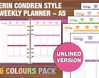 Erin Condren style printable weekly planner - A5 size - UNLINED VERSION
