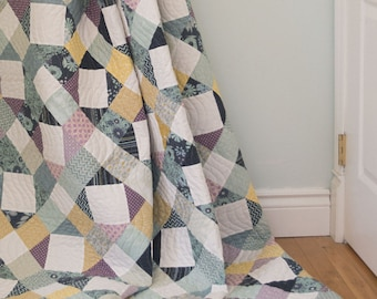 Modern Quilt Pattern, PDF Instant Download! Crystal & Gem Quilt Pattern in three sizes: Full, Throw and Crib, Scrappy Patchwork, Traditional