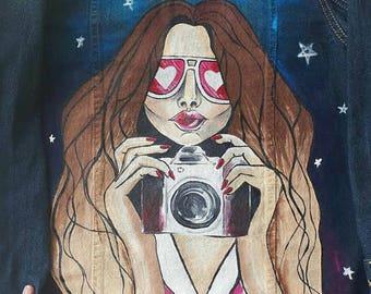 Hand painted women art denim jacket