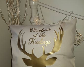 "Stags head personalised Christmas - Cotton Canvas Cushion/pillow Cover - 18""x18"" (45cmx45cm)"