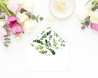 Printable Envelope Liner  | Botanical Envelope Liner | Envelope Liner Template - Watercolor Foliage