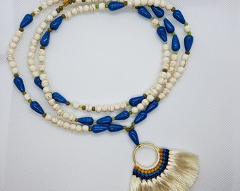 Boho tassel necklace, Bead necklace, Howlite Necklace, Boho Summer Necklace, Silk tassel necklace, Necklace for women, Tassel necklace