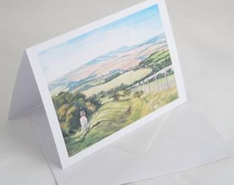Downhill Trek on South Downs Greetings Card