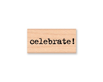 celebrate -wood mounted rubber stamp(33-19)