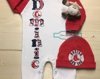 Red sox baby etsy red sox baby personalized baby romper and hat set baby red sox raglan baby negle Images
