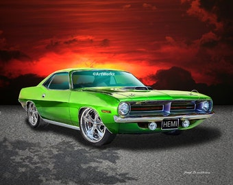 1970 Plymouth Hemi Cuda – Limelight Green - Muscle Car  Print - Hot Rod Art - Auto Art  8x10 Giclee Print - 11x14 Mat - A95