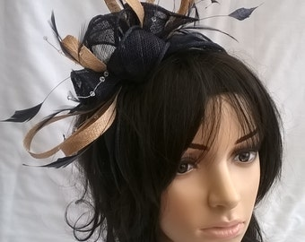 Navy & Pale Gold rosette fascinator with crystal stamens..on a headband  ..Stunning for races ,wedding