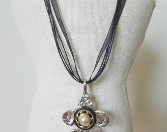 Silver Tone Fleur-De-Lis Upcycled Vintage Black Button Pendant Necklace~Vintage Faux Pearl Jewelry and Button Black Ribbon Necklace