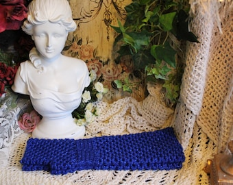 Ladies Hand Crocheted Sparkling Royal Blue Long Fingerless Gloves- One Size