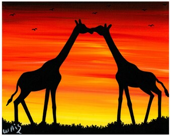 Couple Giraffe make love