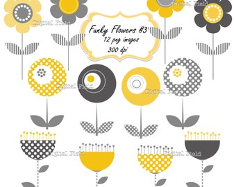 Funky Flowers Clip Art Set No.3 -  yellow gray printable digital clipart - instant download