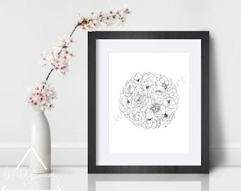 Digital Download - Peony Flower ball, art print, 5x7, 8x10, 11x14, botanical flower art, wall art, printable art, hand drawn, digital art