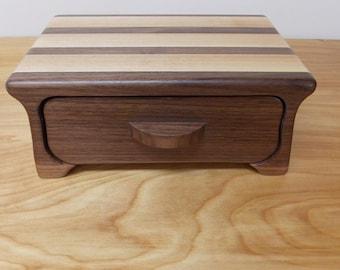 Small Jewelry Box, Bandsaw Keepsake Walnut and Ash Jewelry Box 1 Drawer, Ring Box, Key Box