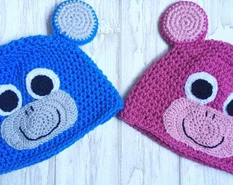 Kid's Monkey Hat - Child's Animal Hat - Child's Animal Hat With Ears - Kids Blue Hat - Child's Pink Hat - Child's Gift - Gift For kids
