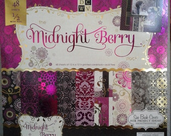 DCWV - The Midnight Berry Paper Stack Stack - 12 x 12 - 48 Sheets 1/2 with Foil