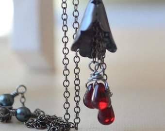 Vampire Goth Necklace, Black Halloween Jewelry, Dark Blood Red Glass Teardrops, Gunmetal Plated Chain, Spooky Calla Lily Pendant