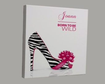 Zebra Print Shoe, Shoe Lover Canvas, Stretched Canvas, Zebra Print High Heel, Leopard Print Shoes, Born To Be Wild, Black and White Canvas