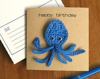 Octopus Card with Brooch / Octopus Badge / Octopus Birthday Card / Sealife Ocean Eco-friendly Birthday Card
