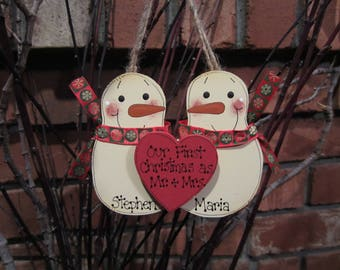 Personalized Snowmen Couple Ornament - Our First Christmas as Mr. & Mrs.