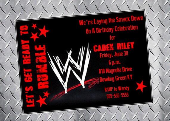 Wwe wrestling birthday party invitation royal rumble digital filmwisefo