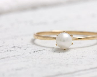 Fresh Water Pearl with Solid Gold Thin Band Ring, Petite Solitaire Ring
