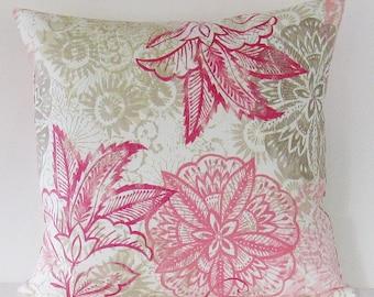 Pink Floral Pillow Cover, Decorative Throw Pillow, 16x16 Pillow, Blush Pink Pillow, Pink Lumbar Pillow, Pink Zipper Pillow, Girls Pillow