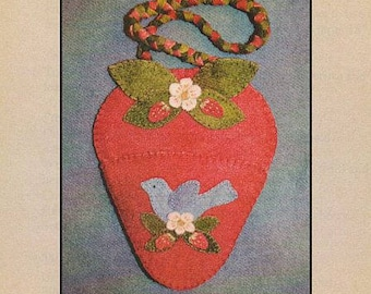 Blue Bird & Strawberry Needle Minder Pattern by North Cat-olina Quilts