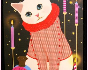 """Postcard cat card pretty matte night series print """"model 5"""" x 1"""