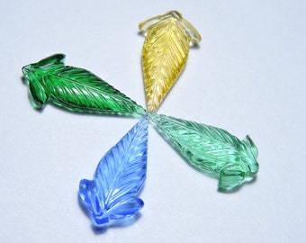 4 Pcs Very Attractive Multi Quartz Hand Carved Leaves Shape Gemstone Beads Size 30X15 MM