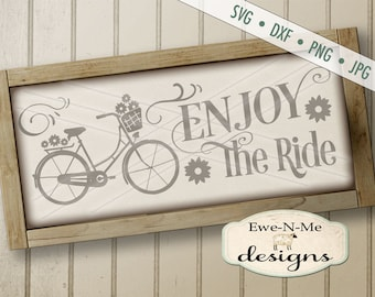 Bicycle SVG - Enjoy the Ride SVG - Bicycle Flowers SVG - summer svg - bicycle ride svg - Commercial Use svg, dxf, png, jpg