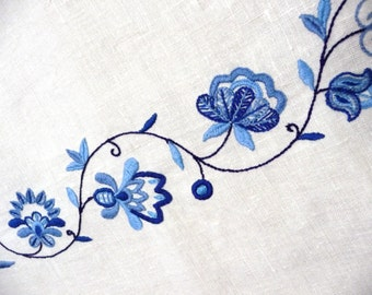 Hand Embroidered Linen Tablecloth Blue Floral Embroidery
