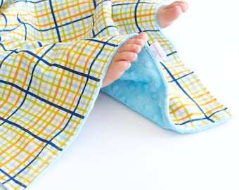 Boy Baby Blanket Military Max Multi Plaid Lovie, Security Blanket with Minky for Baby Boy