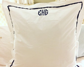 Trimmed euro sham // custom bedroom decor // pillow shams // euro // decor // birthday gift // graduation // anniversary // monogrammed sham