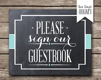 Wedding Guestbook - Please Sign Our Guestbook - PRINTABLE Wedding Sign - Custom Guestbook Table Sign