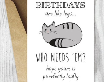 Funny Birthday Cards, Cat Birthday Printable Cards, Digital Download Cards, Cat Loaf Birthday Card, Funny Birthday Cards to Print, Grey Cat