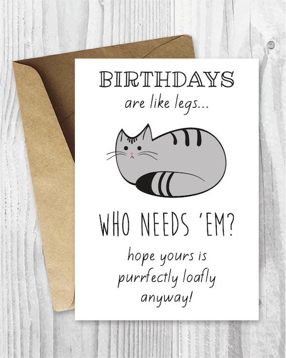 Funny Birthday Cards Cat Birthday Printable Cards Digital
