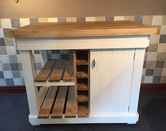 The Henley bespoke kitchen island with oak top made to order