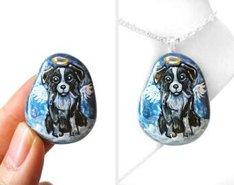 Border Collie Dog Necklace, Angel Pendant, Pet Portrait, Hand Painted Beach Stone, Pet Memorial, Sympathy Gift, Rock Art, Pet Loss
