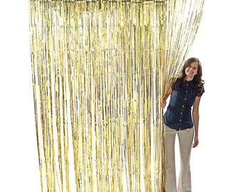 3'x8'Gold Foil Metallic Door Curtain Backdrop Party Decor Wall Hanging Sequence PhotoBooth Prom Tinsel glisten Christmas Hanukkah New Year