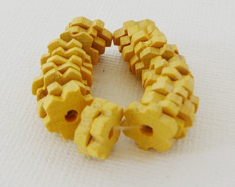 Vintage .. 10mm Wood Beads, Sunny Yellow Flower Spacer Czech
