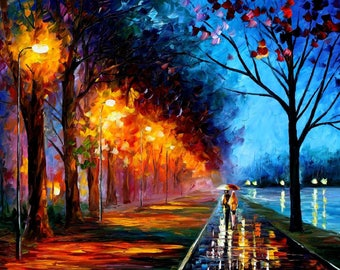 Landscape Wall Art Romantic Oil Painting On Canvas By Leonid Afremov - Alley By The Lake 2