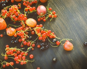 Summer berries on wood Instant Digital Download Art Photography Printable, food berry photography, red and black home wall art decor